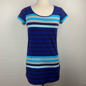 Lole Blue Stripe Short Sleeve Long Tee